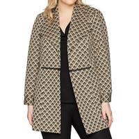 Kasper Brown Black Womens Size 14W Jacquard Plus Duster Jacket