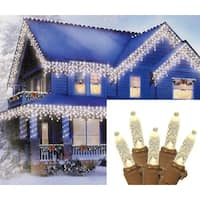 Set of 70 Warm White LED M5 Icicle Christmas Lights – Brown Wire