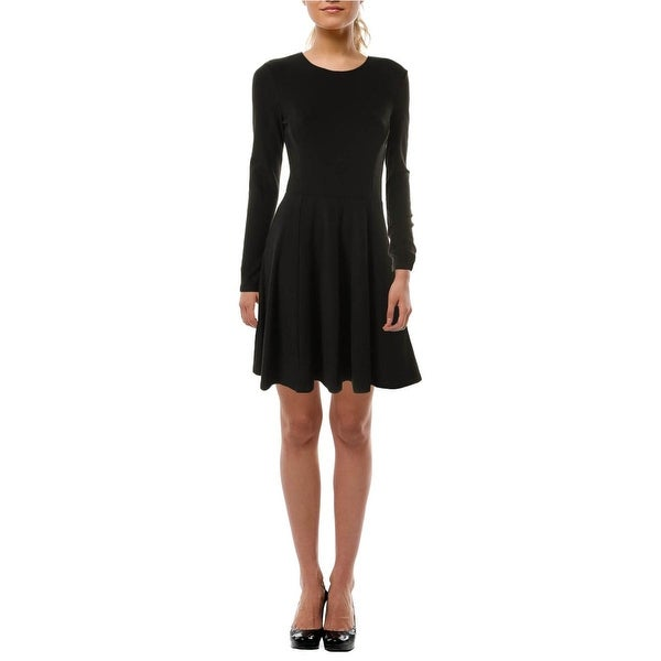 Theory Womens Long Sleeve Fit And Flare Mini Dress