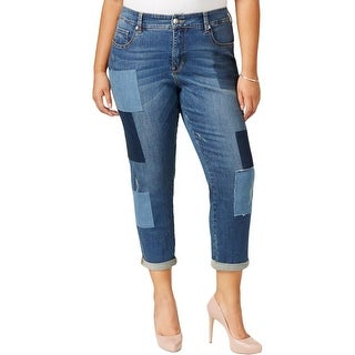 Seven7 Womens Straight Leg Jeans Patchwork Distressed