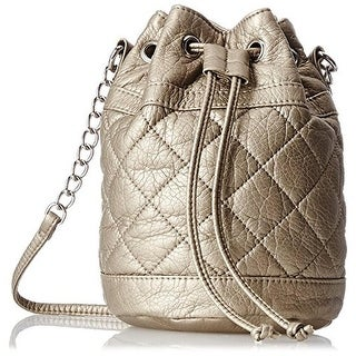 Wild Pair Womens Faux Leather Quilted Bucket Handbag - Gold - SMALL