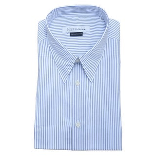 Versace Men Cotton Dress Shirt White Blue Pinstripe