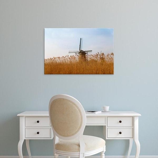 Easy Art Prints Keren Su's 'Windmills Along The Canal In Kinderdijk' Premium Canvas Art