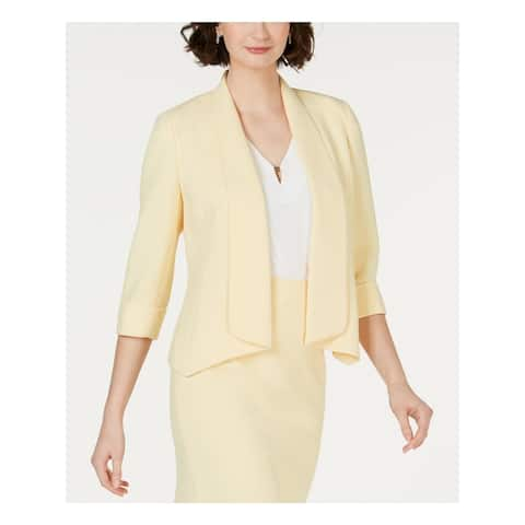 KASPER Womens Yellow Blazer Wear To Work Jacket Size 16