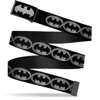 Batman Reverse Brushed Silver Cam Batman Shield Black Silver Webbing Web Belt