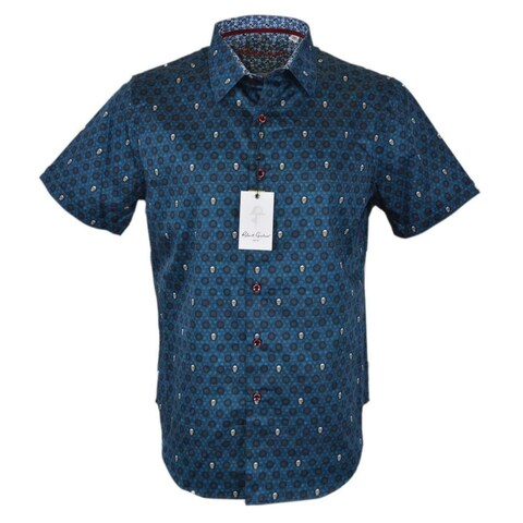 Robert Graham Men's CUTLASS Skull Print Short Sleeve Sports Shirt