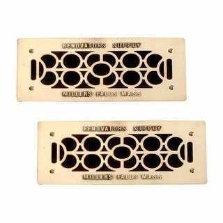2 Floor Wall Heat Air Grill Vent Grate Solid Brass 4.75 x 11