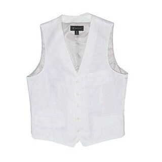 INC NEW Solid Bright White Mens Size Small S Linen-Blend Lined Vest