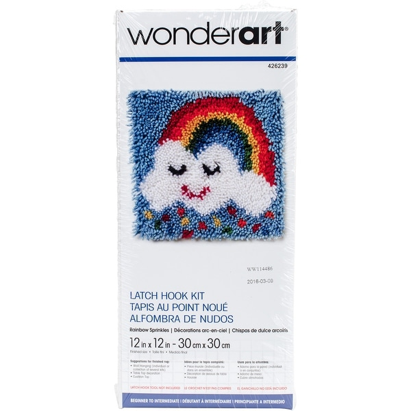 "Wonderart Latch Hook Kit 12""X12""-Rainbow Sprinkles"