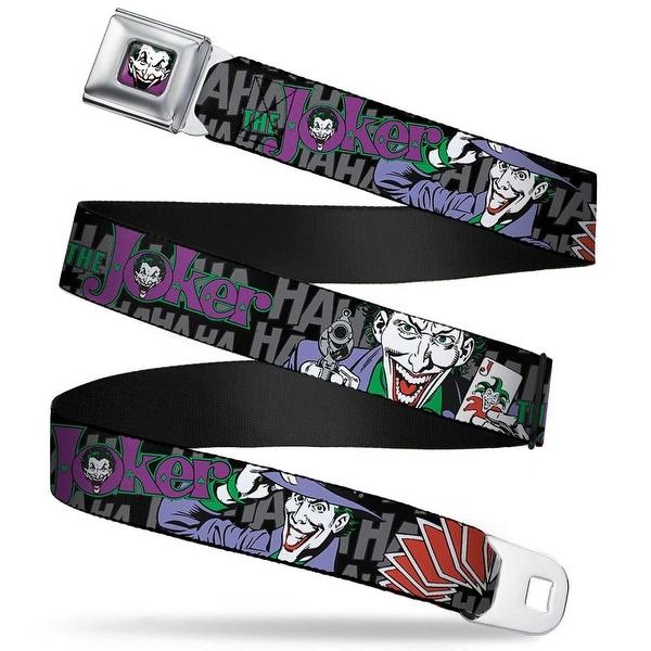 Joker Face Full Color The Joker Pose Cards Hahahaha Black Gray Webbing Seatbelt Belt