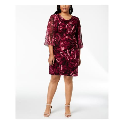 CONNECTED Womens Purple Floral Angel Sleeve Cowl Neck Above The Knee Party Dress Plus Size: 18W