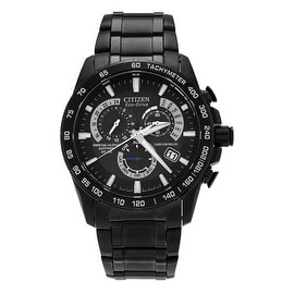 Citizen Men's AT4007-54E 'Eco Drive' Black Stainless Steel Chronograph Watch