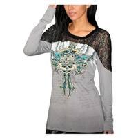 Harley-Davidson Women's Embellished Shirt, Ice Angel Long Sleeve, Gray HD136GRY