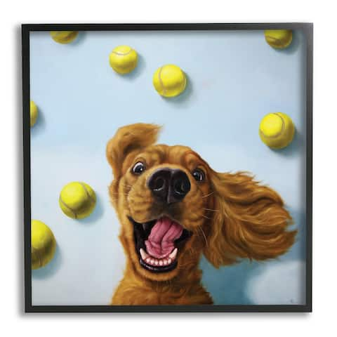 Stupell Industries Happy Smiling Pet Dog with Yellow Tennis Balls Framed Wall Art