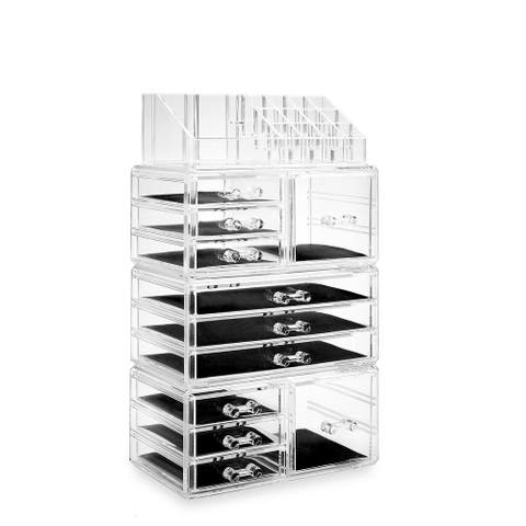 Acrylic Cosmetic Makeup Organizer & Jewelry Storage Set - Large