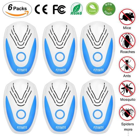 NEW 6pcs Fitnate Ultrasonic Plug in Pest Repeller Electronic Spider Repellent for Insect Bug Mosquito Mouse Bedbug Roach