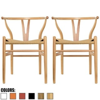 2xhome -Set of 2- Natural-Modern Wood Arm chair Modern Dining Chairs