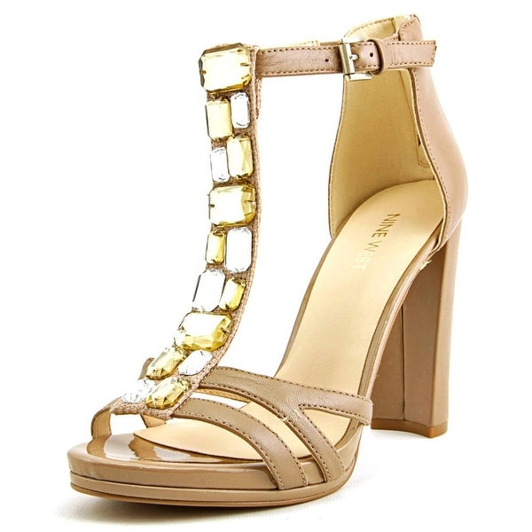 Nine West Wiglie Women Open Toe Leather Tan Sandals