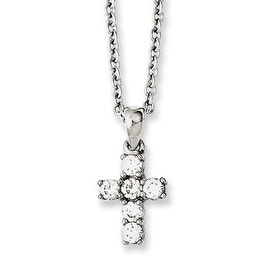 Chisel Stainless Steel Cross with CZs Necklace (2 mm) - 18 in