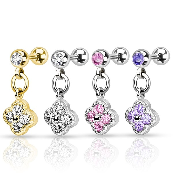 Flower with CZ 316L Surgical Steel Cartilage/Tragus Barbell (Sold Ind.)