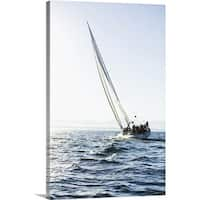 Premium Thick-Wrap Canvas entitled Large sailboat sailing into the wind