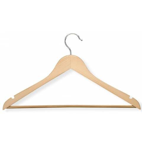 Honey-Can-Do HNG-01206 Basic Suit Hanger with Non-slip Bar, Maple, 4-Pack
