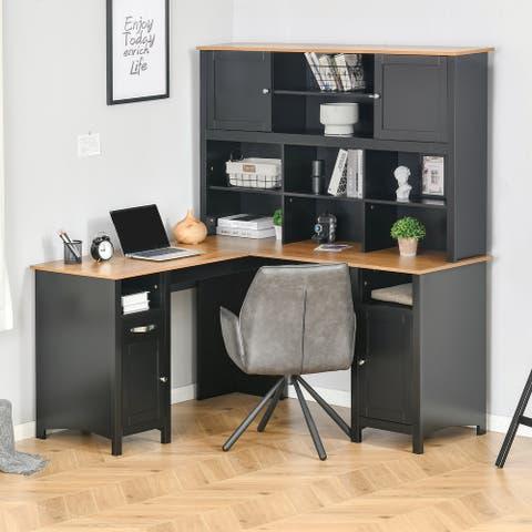 HOMCOM L-Shaped Corner Computer Desk with Hutch, Home Office Desk Study Workstation Table