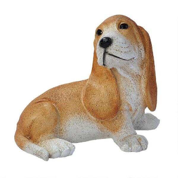 """9"""" Sitting Brown Bassett Hound Puppy Dog Statue - N/A"""