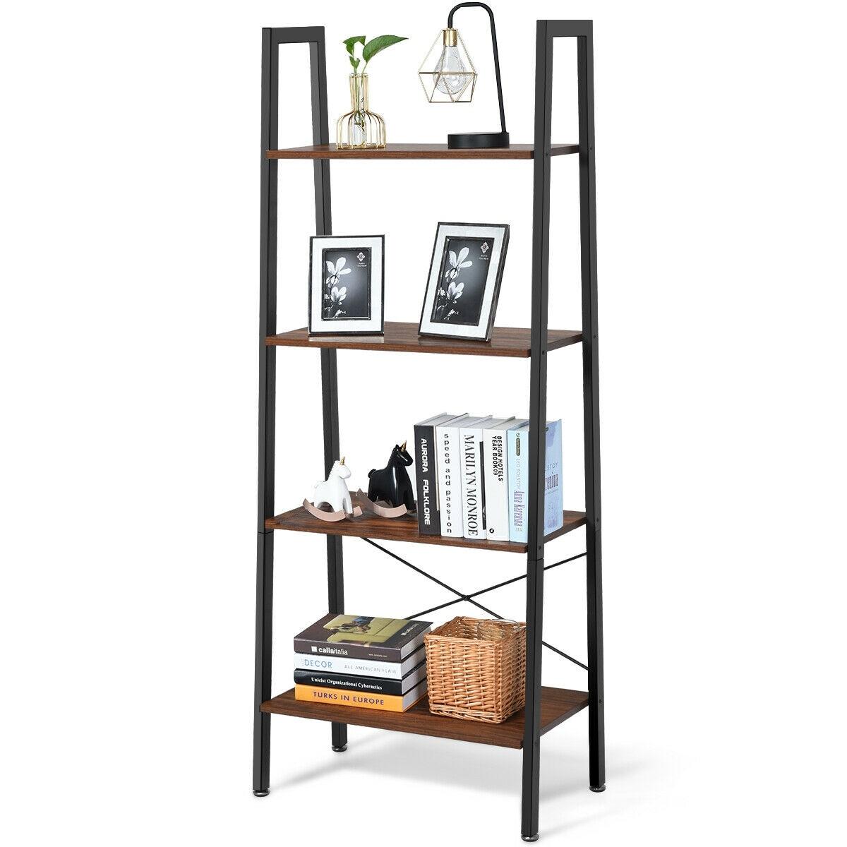 4 Tiers Wood Ladder Bookcase Plants Shelf Unit Storage Stand Bookshelf Display