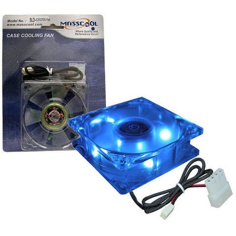 Masscool BLD-12025S1M 120mm Sleeve Bearing DC PC Computer Case Fan - 4 Blue LEDs