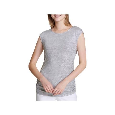 Calvin Klein Womens Pullover Top Metallic Heathered