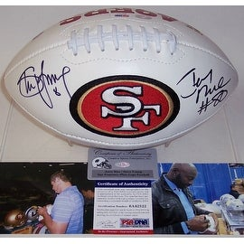 Jerry Rice & Steve Young Autographed Hand Signed San Francisco 49ers Logo Football - PSA/DNA