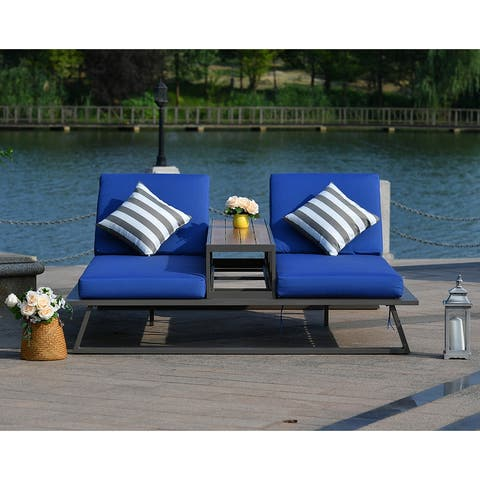 Moda Outdoor Adjustable Patio Alu Lounge Set with Middle Table