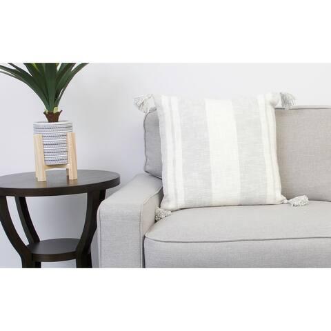 20x20 Sophia Stripe Printed Cotton Corner Tassel Pillow