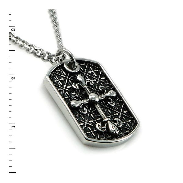 Men's Stainless Steel Templer's Dog Tag Pendant - 24 inches