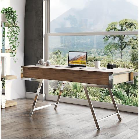 Modrest Dessart Modern Walnut Veneer Desk