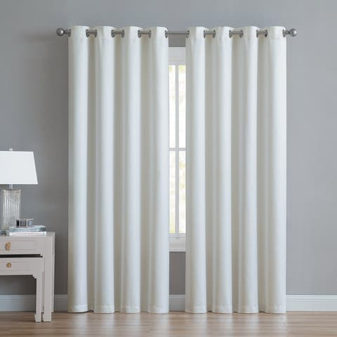 """Anette Room Darkening Shiny Window Curtain Panels 84"""" or 90"""" (Single, 2-Pack or 4-Pack)"""