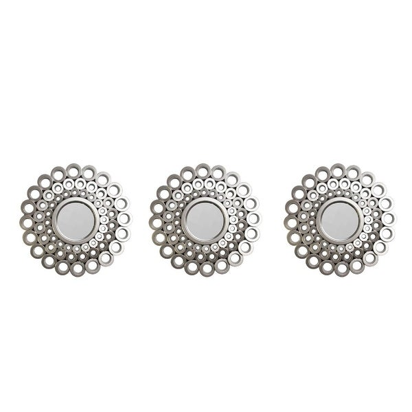 "Set of 3 Round Silver Cascading Angular Orbs Mirrors 9.5"" - Grey"