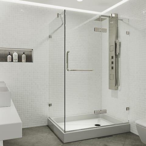 VIGO Frameless Clear Shower Enclosure and Right Base (32 x 48) - 32 x 48