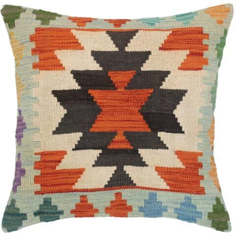 Boho Chic Marietta Hand-Woven Turkish Kilim Throw Pillow
