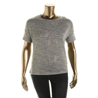 Two by Vince Camuto Womens Metallic Short Sleeves Casual Top