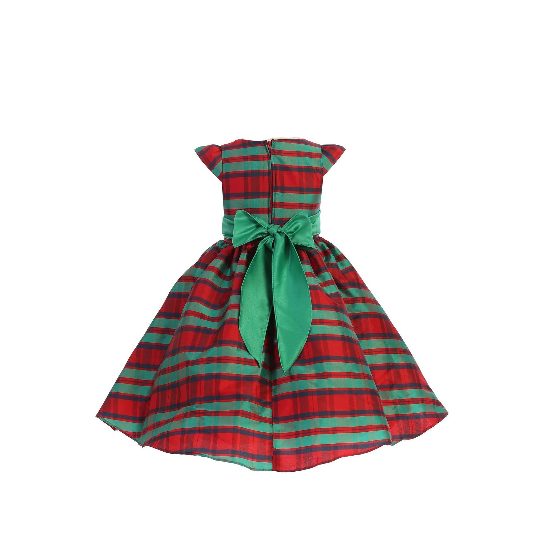 Ellie Kids Big Girls Black Dull Satin Rhinestone Sash Christmas Dress 8-14