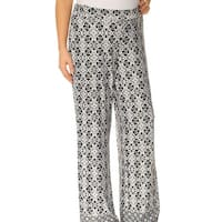 NY Collection Black Womens Size XS Printed Wide-Leg Pants Stretch