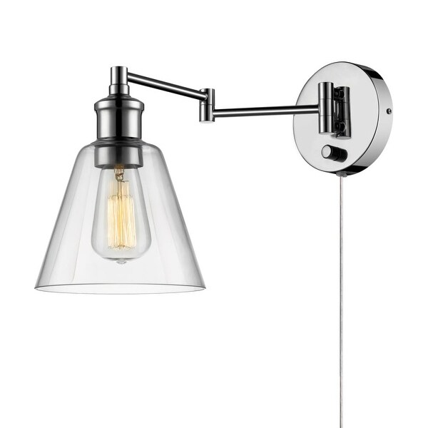 "Globe Electric 65704 LeClair 1-Light 7"" Wide Plug In Wall Sconce - Chrome"