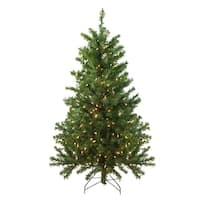 4' Pre-Lit Canadian Pine Artificial Christmas Tree - Clear Lights - green