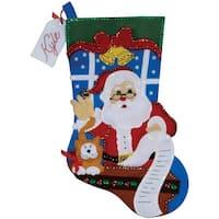 "Santa's List Stocking Felt Applique Kit-18"" Long"
