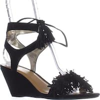 MG35 Haniya Fringe Wedge Sandals, Black