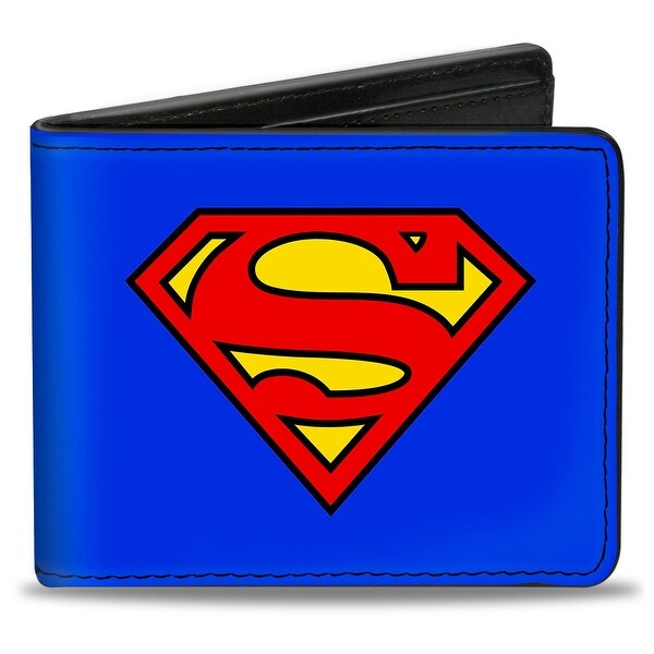 Superman Shield Blue Red Yellow Bi Fold Wallet - One Size Fits most