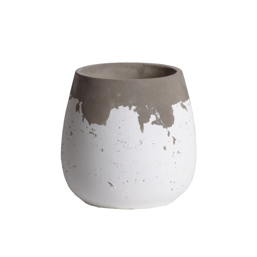 Cement Round Bellied Pot With Irregular Gray Band Rim Top, Small, White