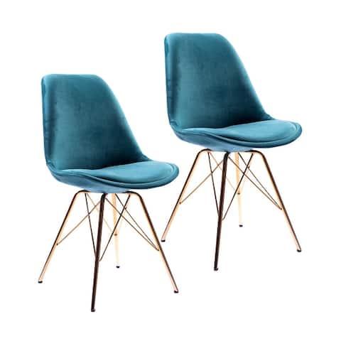 Porthos Home Alia Dining Chairs Set Of 2, Velvet And Gold Chrome Legs